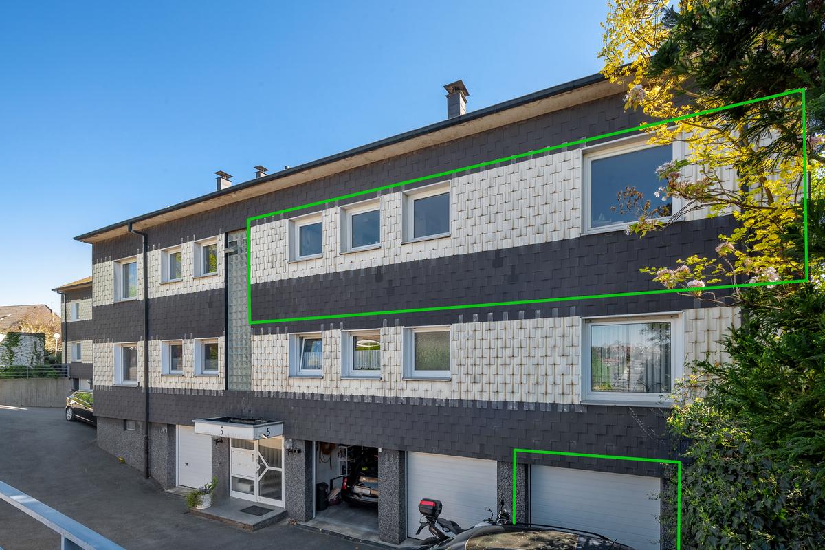 Wohnung und Garage markiert
